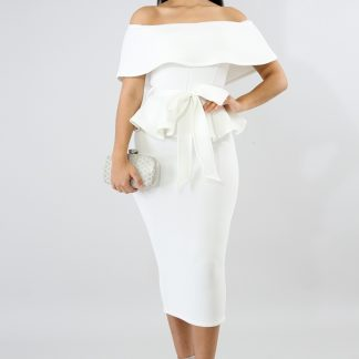 PEPLUM STYLE OFF-SHOULDER FORMAL DRESS (WHITE) 96% Polyester 4% Spandex