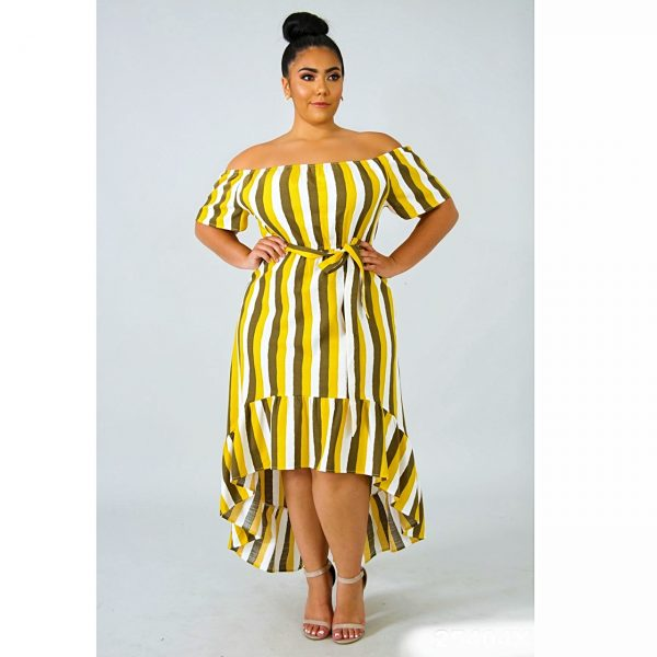 HIGH LOW PEPLUM STRIPE PLUS SIZE DRESS