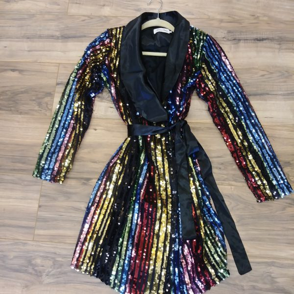 a0a5617a984 TUXEDO WAIST BELT SEQUINS JACKET DRESS